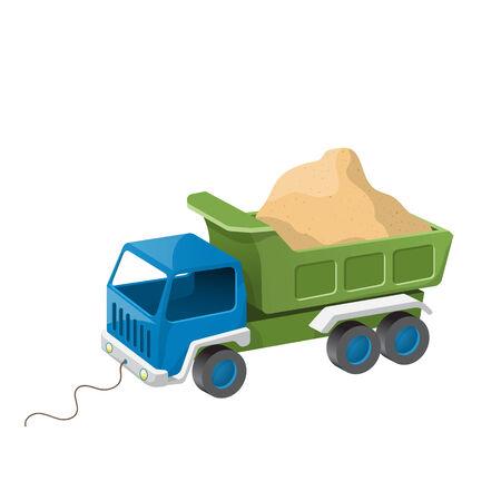 camion de basura: Juguete cami�n de volteo de colores con arena.