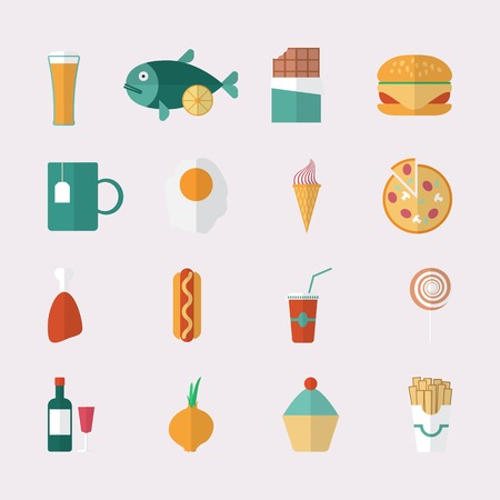 continental food: Food icons - flat style. Vector illustration