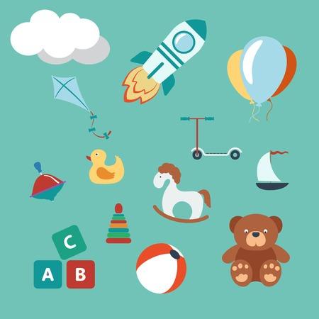 oso negro: Juguetes conjunto de colores. Plano Estilo Moderno. Ilustraci�n vectorial