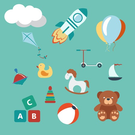 baby bear: Toys colorful set. Modern Flat Style. Vector illustration