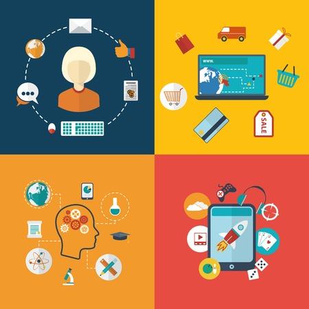 Design plat moderne illustration vectorielle conception infographique de E-�ducation, r�seaux sociaux, e-commerce et divertissements Vector illustration