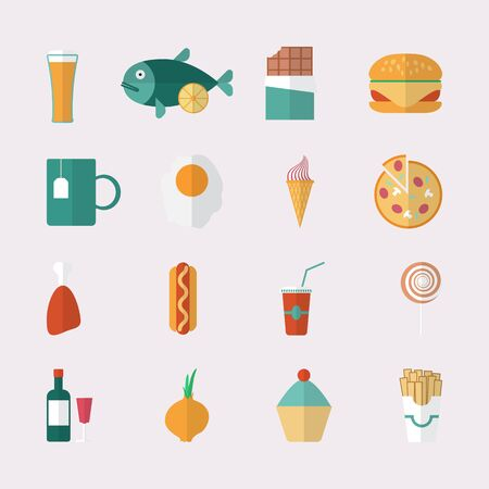 continental food: Food icons - flat style  Vector illustration
