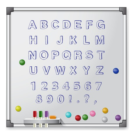 White board with colored markers and handrawn alphabet  Vector illustration Vector