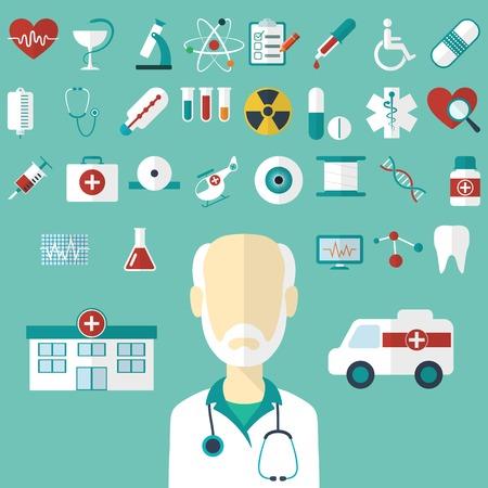 Set of flat Medical icons  Vector illustration Illustration