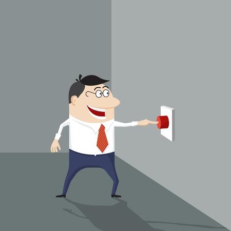 Cartoon man pushing a red button  Vector illustration Vector