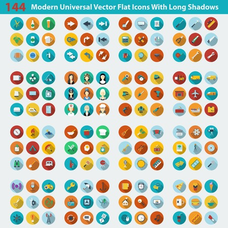 long: Modern flat icons vector collection with long shadow effect in stylish colors of web design objects, business, office and marketing items. Vector illustration Illustration