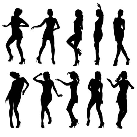 strip tease: Beautiful women dancing silhouette isolated. Vector illustration Illustration