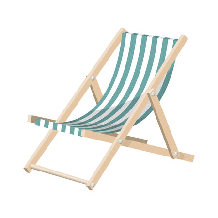 patio furniture: Vector illustration of the striped sunchair isolated over white background.