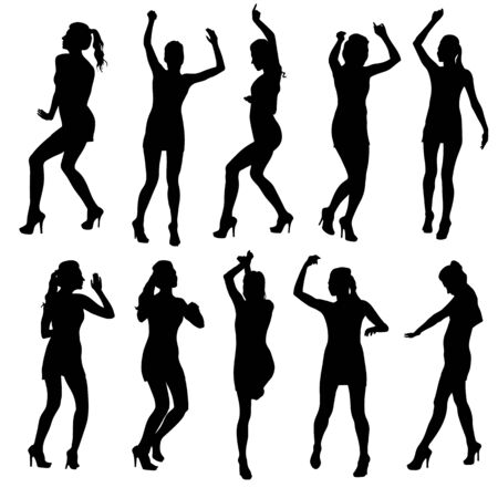 strip club: Beautiful women dancing silhouette isolated. Vector illustration Illustration