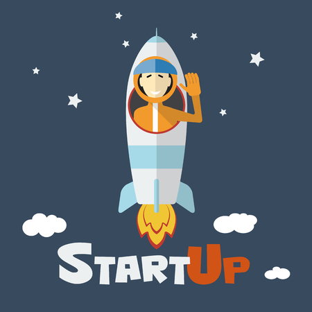 Vector concept of start up new business project infographic with rocket and astronaut. Vector illust. Illustration