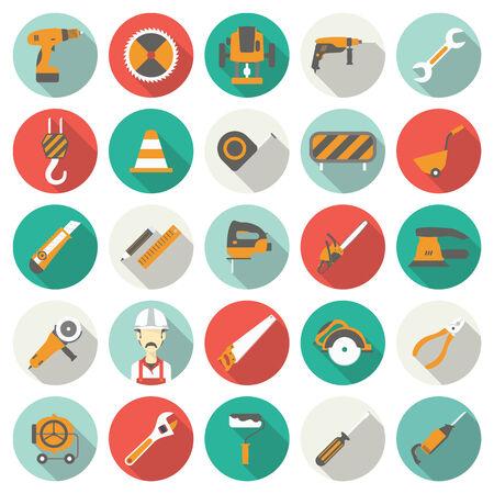 sander: Construction flat icons set. Vector illustration