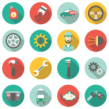 wheel change: Car service flat icons. Vector illustration Illustration