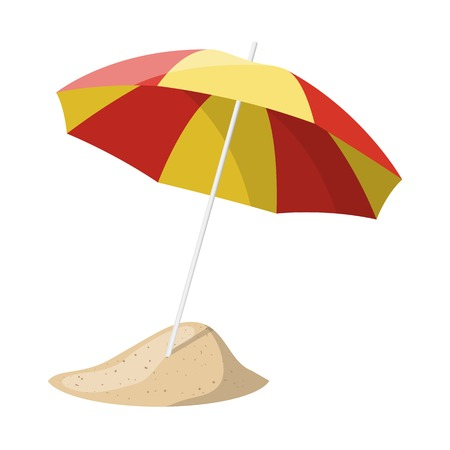 suntan: Beach umbrella isolated over white background. Vector illustration