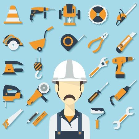 herramientas de construccion: Concepto de la construcción con los iconos planos y constructor. Ilustración vectorial
