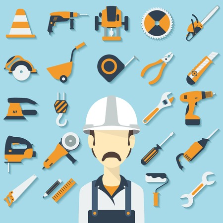 Construction concept with flat icons and builder. Vector illustration