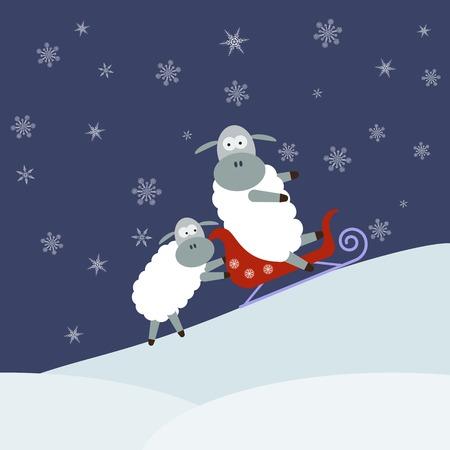 Sheep sledding. Vector illustration Illustration