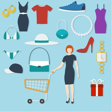 Shopping concept with flat icons and women with trolley. Vector illustration Illustration