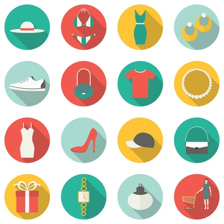 Shopping flat icons. Vector illustration Vector