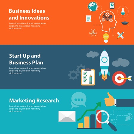Flat design concepts for business, finance, marketing research
