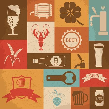 Retro beer icons set. Vector illustration Vector