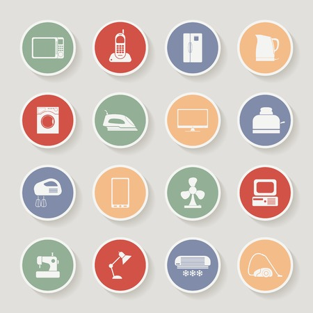 iron fan: Round home appliances icons. Vector illustration