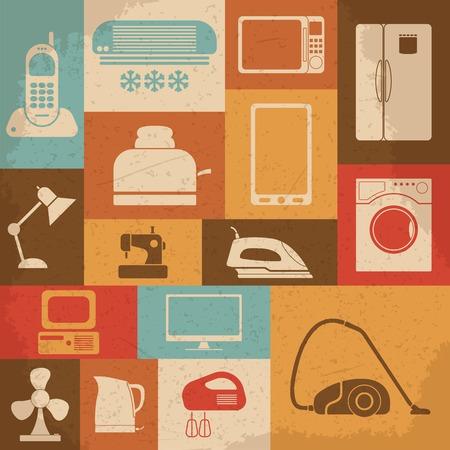 iron fan: Retro home appliances icons. Vector illustration