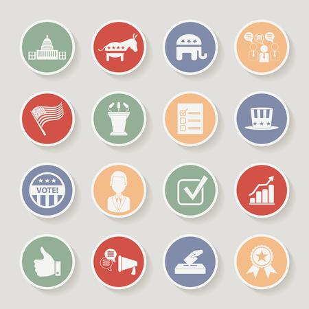 partisan: Round political election campaign icons set. Vector illustration Illustration