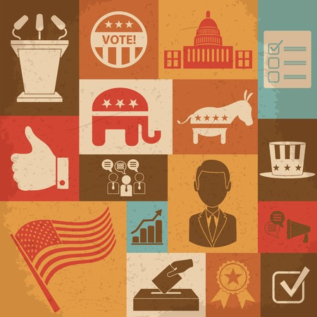 political campaign: Retro political election campaign icons set. Vector illustration
