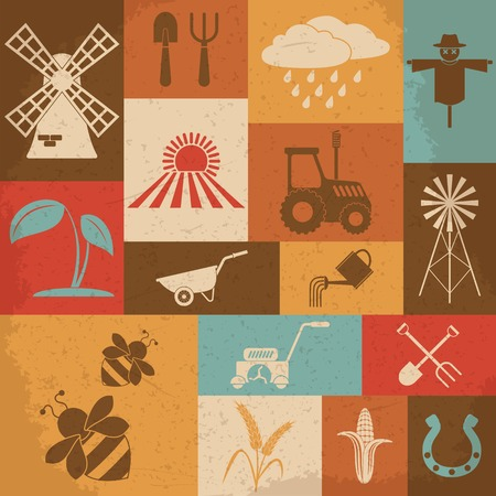 L'agriculture r�tro ic�nes. Vector illustration