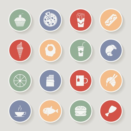 shrimp cocktail: Round Food Icons. Vector illustration