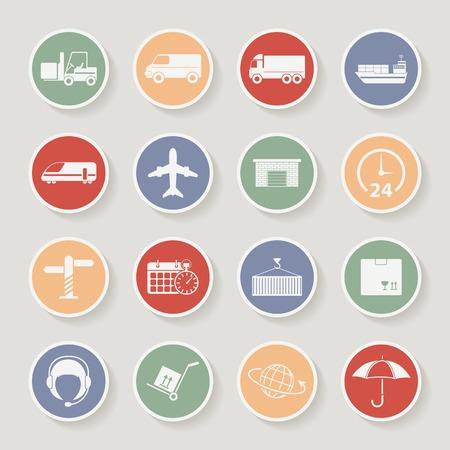 icone tonde: Spedizione e rotonde Icone logistica. Illustrazione vettoriale