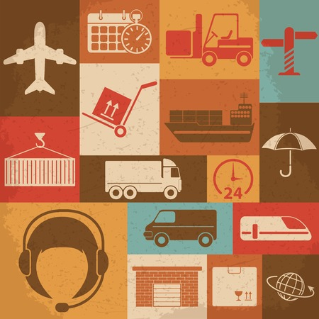 Shipping and Logistics Retro Icons. Vector illustration 向量圖像
