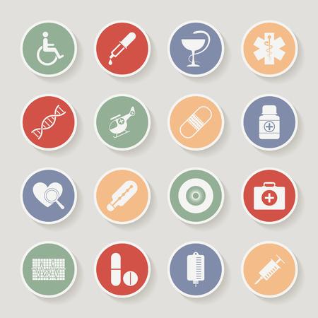 eye pipette: Round Medical Icons. Vector illustration Illustration
