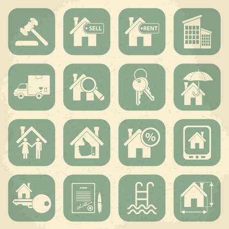 swimming pool home: Real estate retro icon set. Vector illustration Illustration