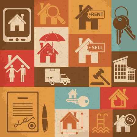 Immobilier r�tro jeu d'ic�nes. Vector illustration Illustration