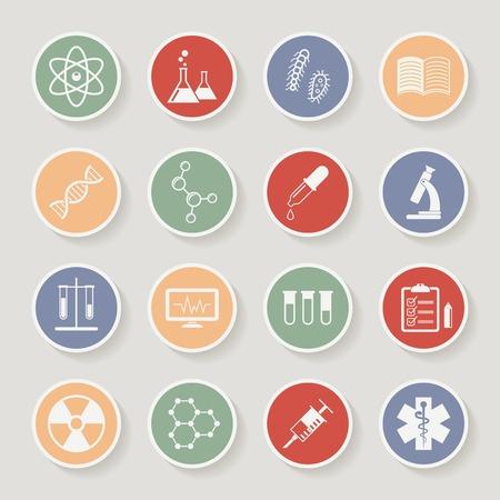qu�mica: Ciencia Ronda, iconos de m�dicos y de educaci�n. Ilustraci�n vectorial