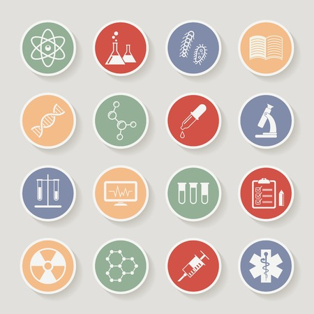 Round science, medical and education icons. Vector illustration Illustration