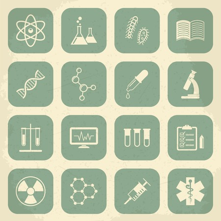 Retro science, medical and education icons. Vector illustration Vector