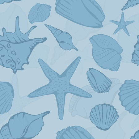 cockle: Seamless pattern of hand drawn seashells. Vector illustration Illustration