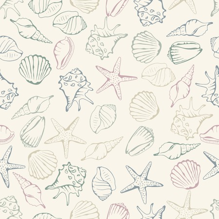 sea shells on beach: Sea shell seamless pattern. Vector illustration