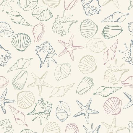 Sea shell seamless. Vector illustration Illustration