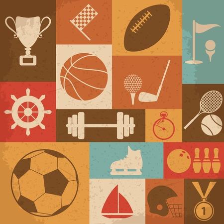 Retro Sports Icons. Illustration Vecteur