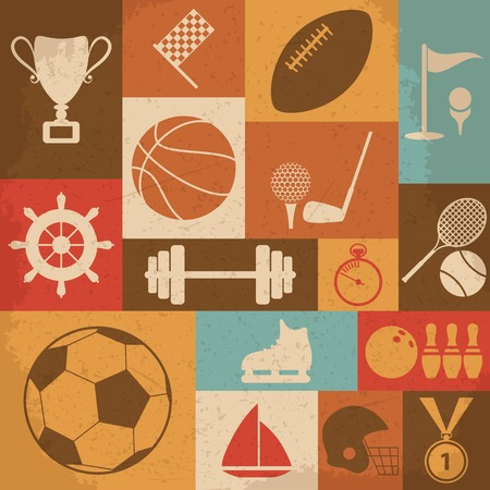 Retro Sports Icons. Vector Illustration Illustration