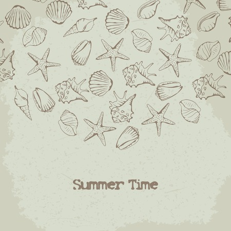 cockle: Shells and starfish vector background