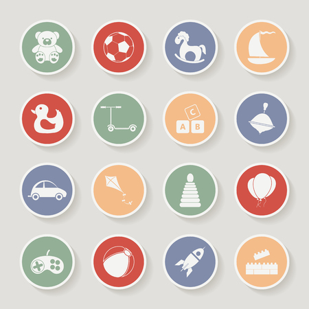Round childrens toys icon set. Vector illustration Vector