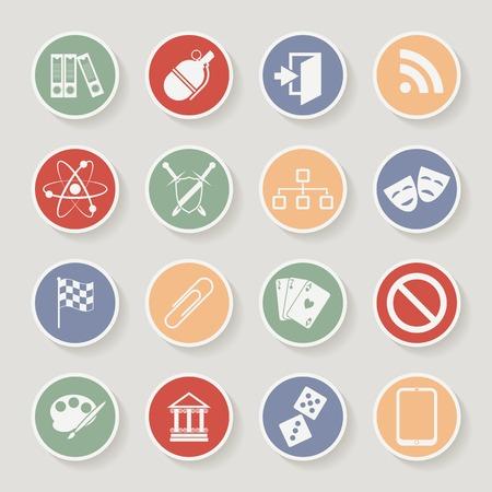 Universal ic�nes rondes pour le Web et Mobile. Vector illustration