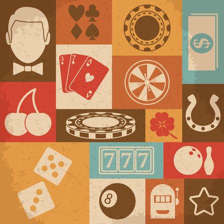 ruleta casino: Casino retro iconos conjunto. Ilustraci�n vectorial