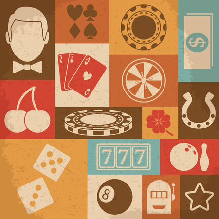casino machine: Casino retro icons set. Vector illustration