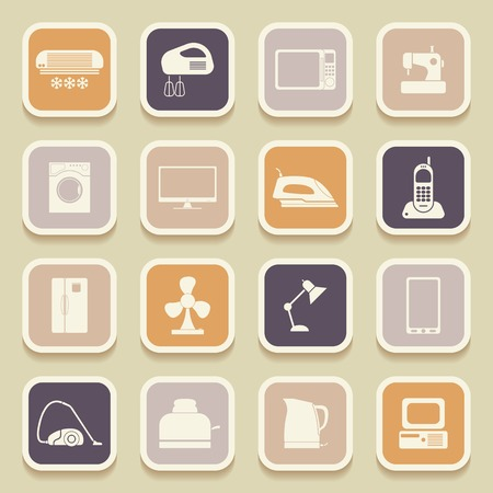 iron fan: Home appliances universal icons for web and mobile applications. Vector illustration