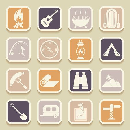 universal icons: Camping universal icons for web and mobile applications. Vector icons Illustration